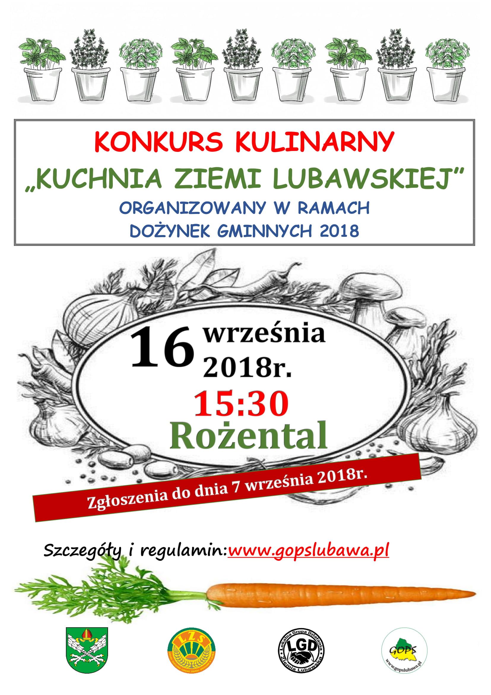 """Konkurs kulinarny """"Kuchnia Ziemi Lubawskiej""""!"""